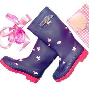 J. Crew Rubber Wellie Blue Pink Rain Boots Size 6